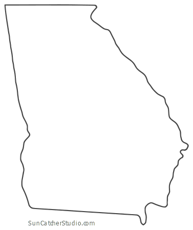 Georgia Map Outline Printable State Shape Stencil Pattern Georgia Outline Georgia Map Georgia Tattoo