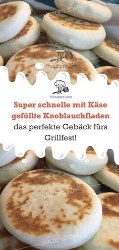 Super schnelle mit Käse gefüllte Knoblauchfladen – das perfekte Gebäck fürs Grillfest #schnelletortenrezepte