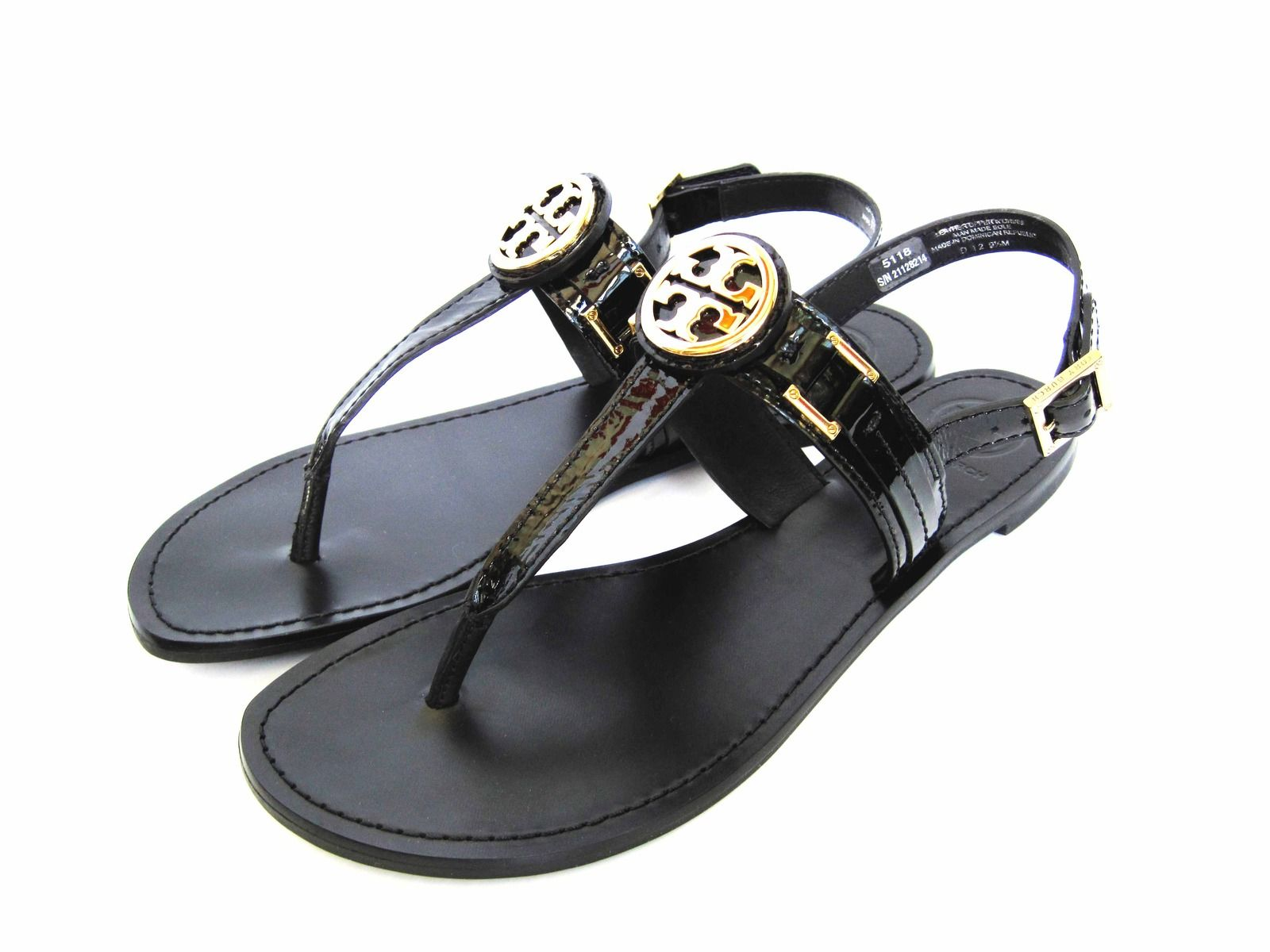 Tory Burch Patent Cassia Gold Logo Sandal Black 10.5