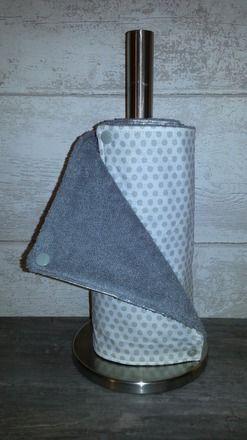 Essuie-tout lavable 100% coton doublé éponge clipsable par pressions Motifs : petits pois marron Dimensions : 23 x 23 cm Lot de 8 feuilles Lavable en machine à 40° Tissu r - 18290454