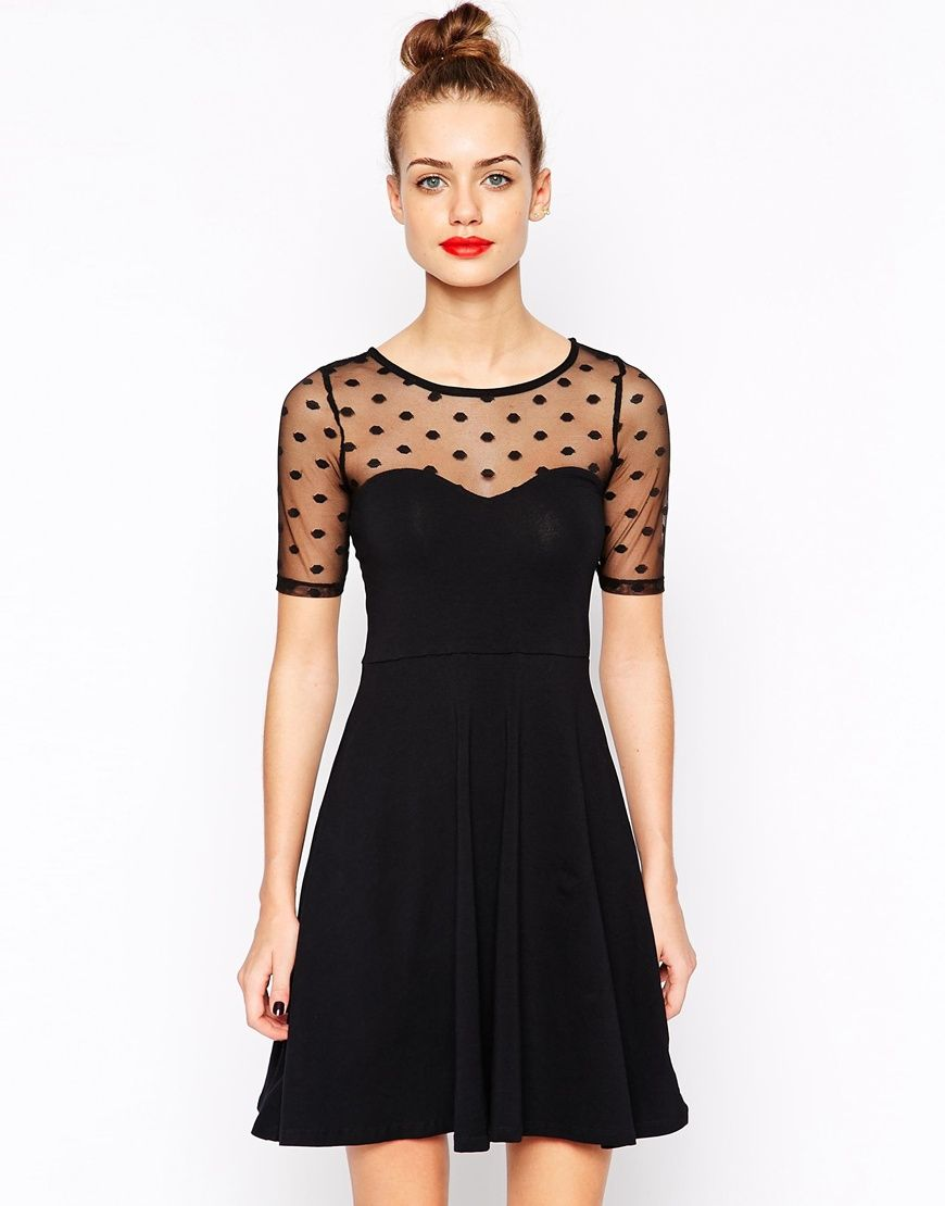 efd4a67979 Image 1 of New Look Spot Mesh Skater Dress