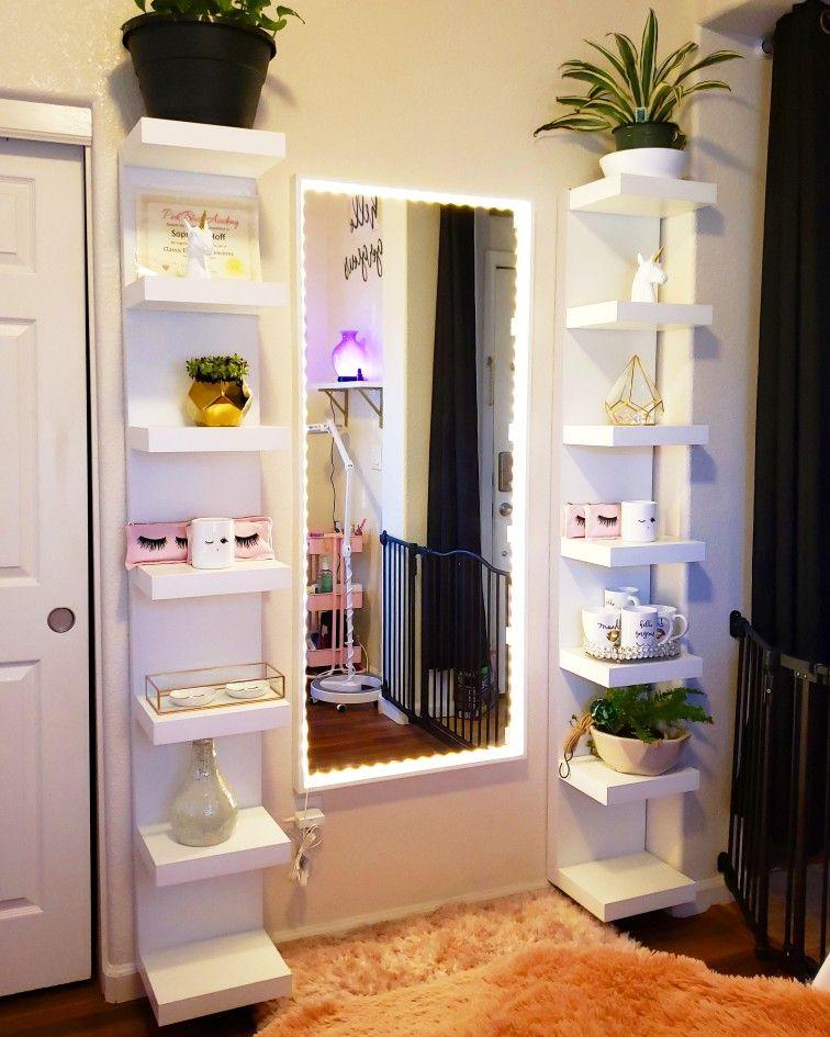 Lashes eyelashes lash room eyelash room mirror with lights IKEA shelves shelf's #lashroomdecor