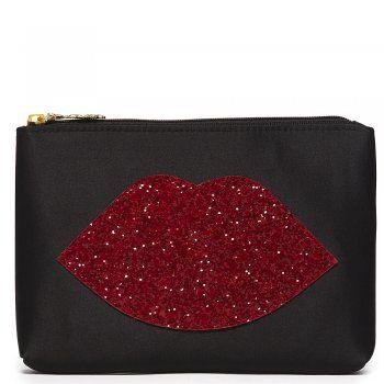 b5c9a3bd073b Lulu Guinness Red Glitter Lips Women s Top Zip Purse