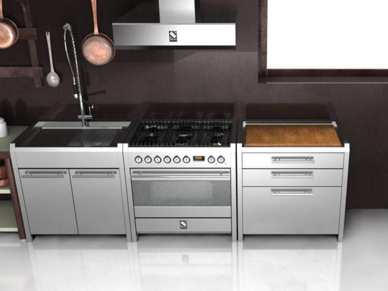 modulo cucina in acciaio inox con tagliere collezione sintesi by ... - Steel Cucine Prezzi