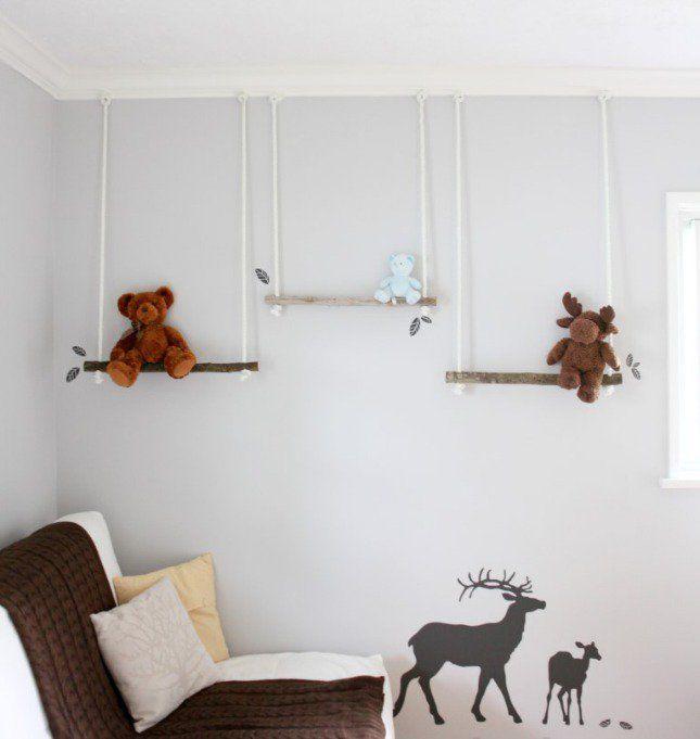 ideen für wandgestaltung kinderzimmer mit schaukeln | kinderzimmer ... - Holz Im Kinderzimmer Anwenden Ideen