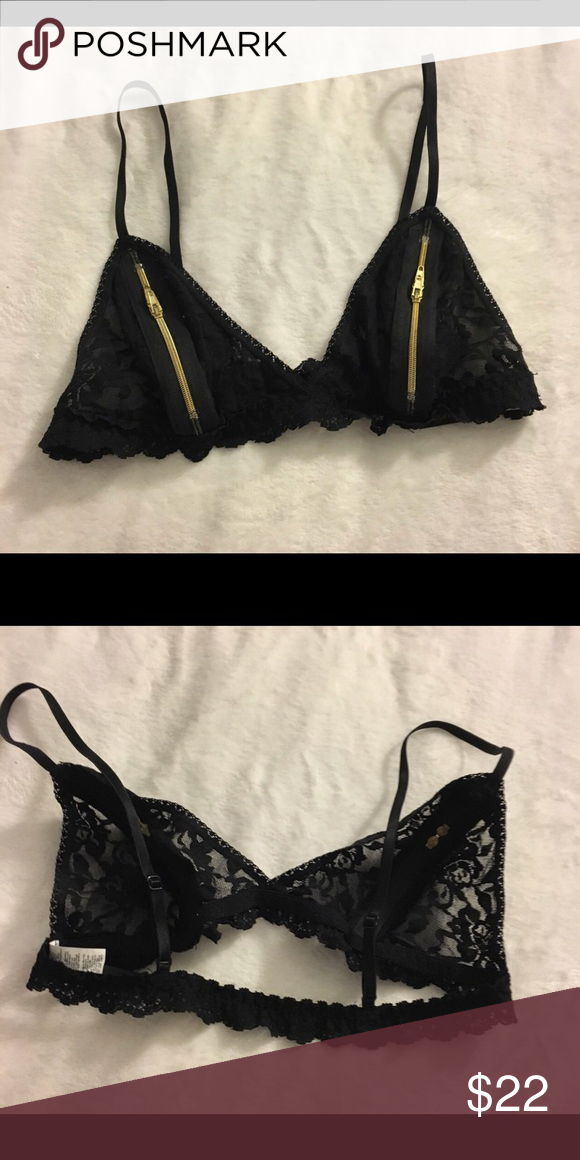 fc28e5cb05 Zip Down Bralette Black Worn once Size small All lace Intimates   Sleepwear  Bras