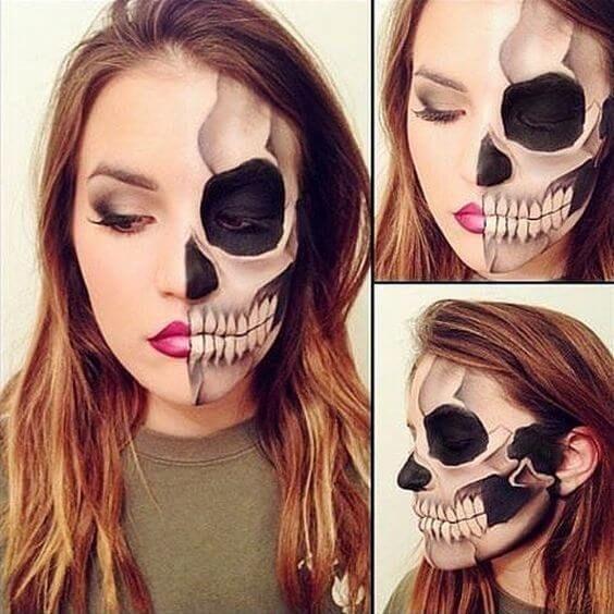maquillage squelette moitie
