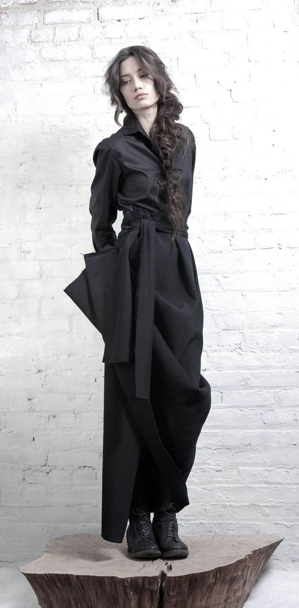 Wrapover skirt with soft drape - deconstructed fashion details // InAisce