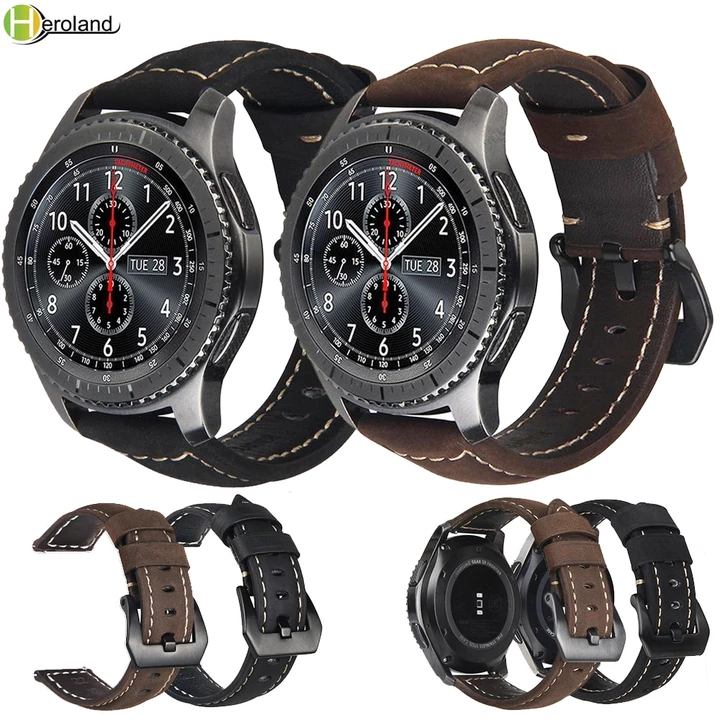 20mm 22mm Leather Watch Strap For Samsung Gear S3 Classic Frontier S2 Sport Galaxy 42 46mm Active For Huawei Gt 2 Bracelet Bands With Images Leather Watch Strap Leather Watch Watch Strap