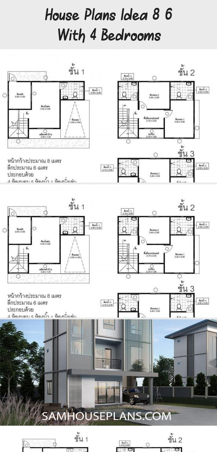 House Plans Idea 8x6 With 4 Bedrooms Sam House Plans Floorplans4bedroomnarrow Floorplans4bedroomlshape Floorp In 2020 House Plans Floor Plan 4 Bedroom Floor Plans
