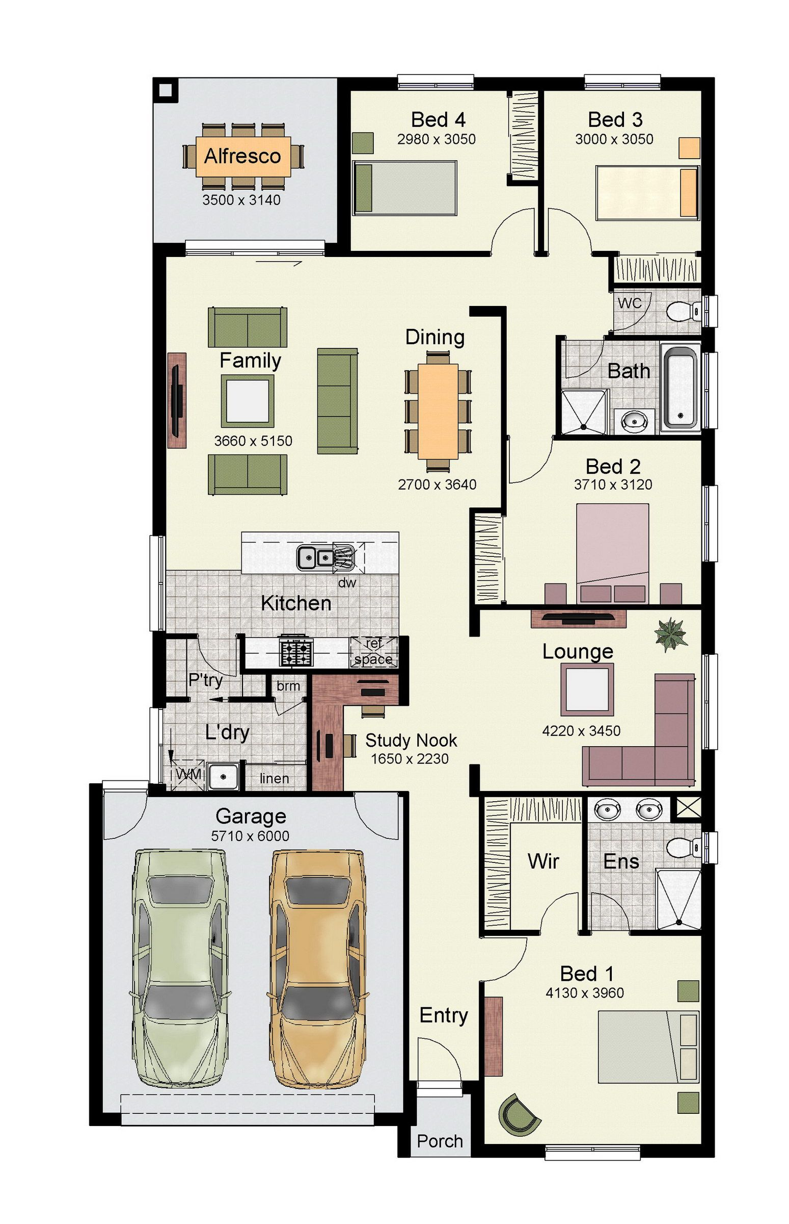 The yarra 222 also comes in the smaller 171 size hsh - Single story 4 bedroom modern house plans ...