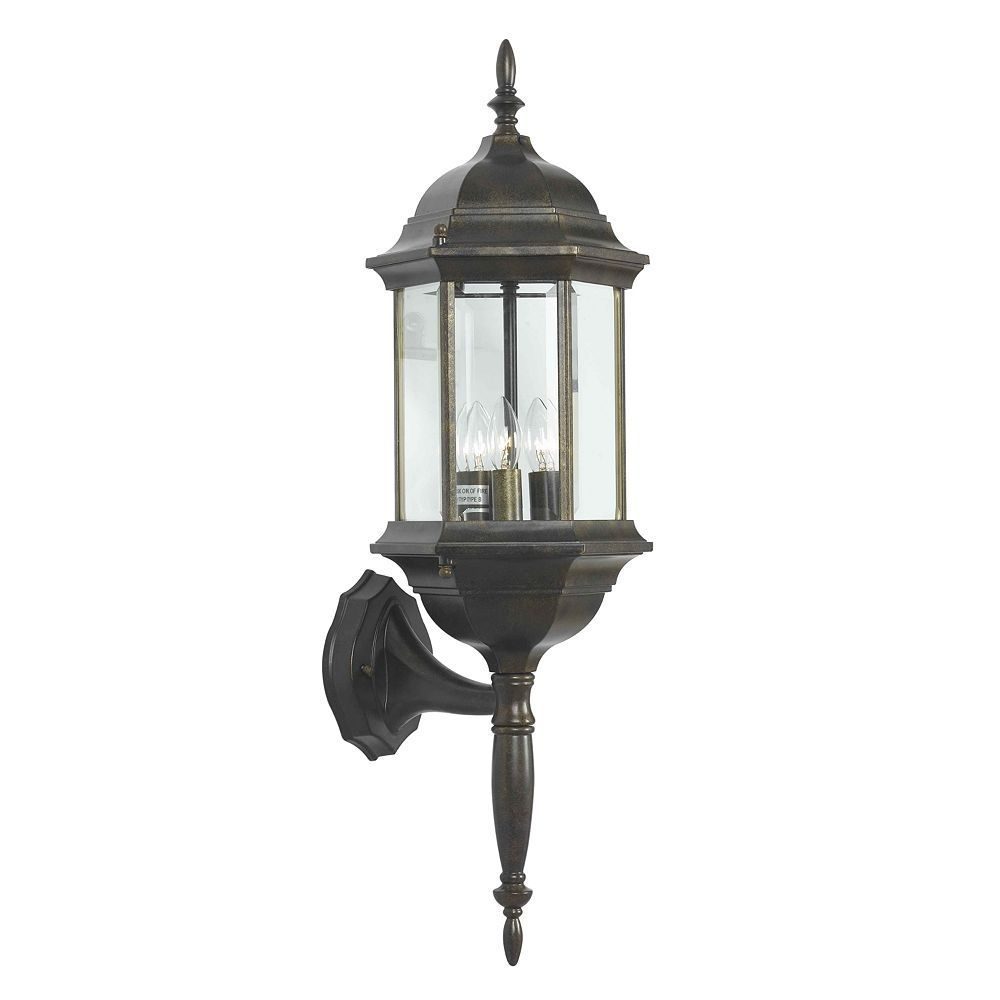Custom Fit 3-Light Bronze-Tone Wall Lantern - Outdoor, Brown