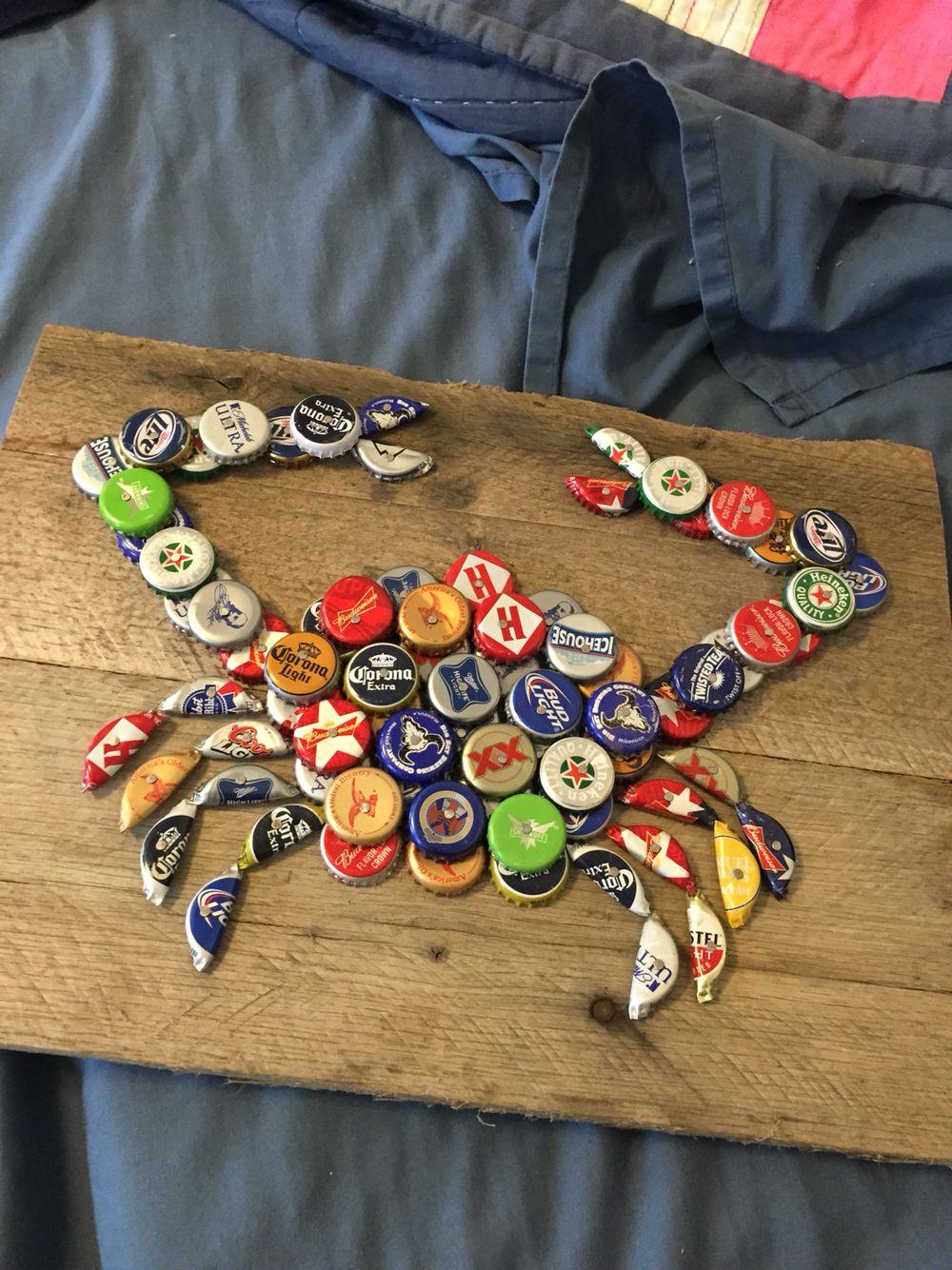 Bottle Cap Crab Beer Cap Crafts Beer Cap Art Bottle Cap Art