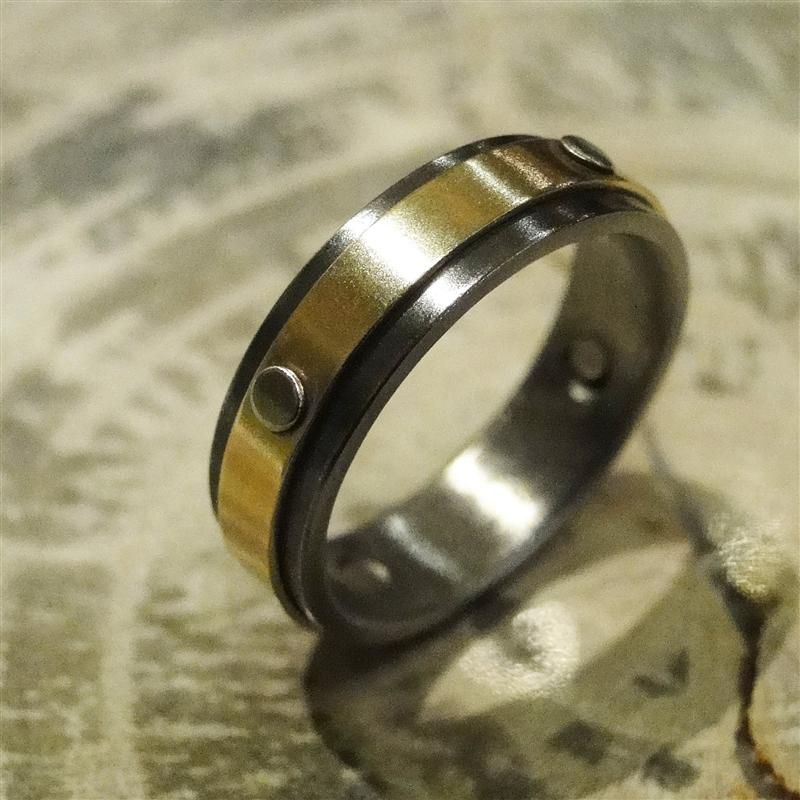 Gold and Nobium Ring 5mm 14k Yellow Gold and Niobium with White 14K