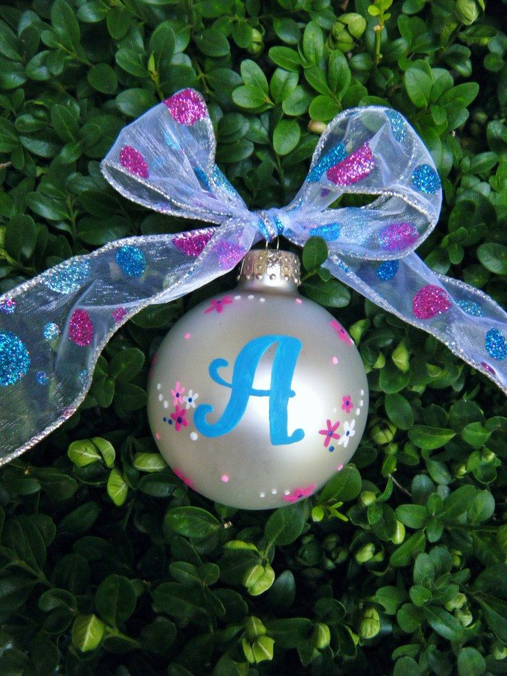 Hand Painted Monogram Ornament Personalized Custom Glass Ball Ornament 14 7 Christmas Crafts Decorations Hand Painted Ornaments Painted Christmas Ornaments