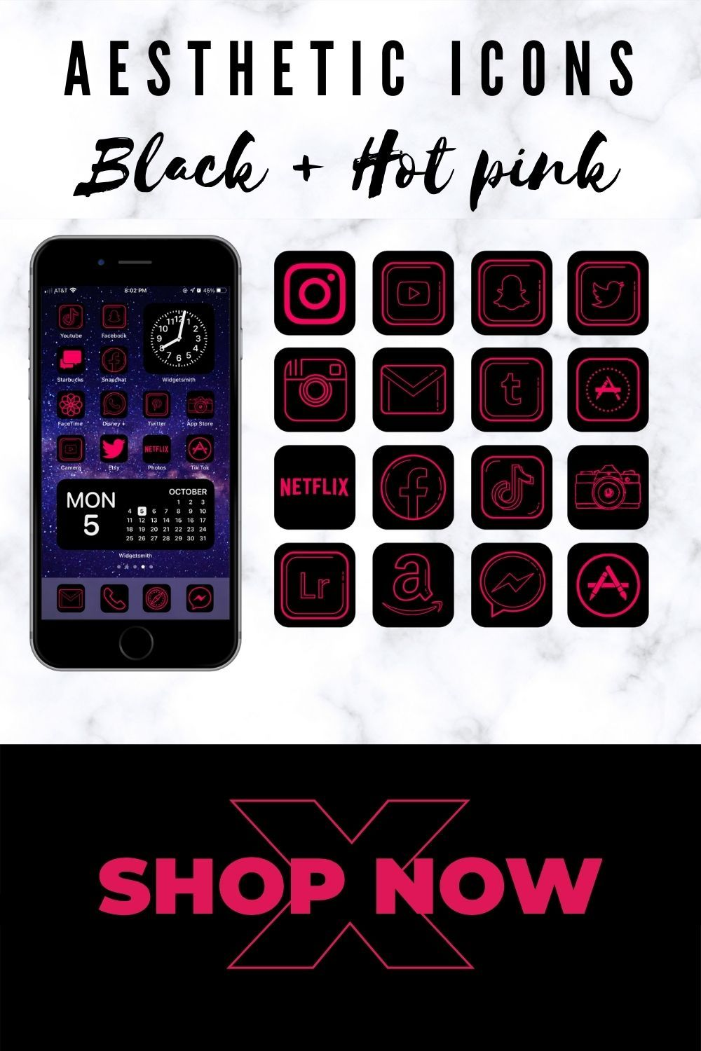 App icons neon pink for iPhone. ios 14 home screen ideas