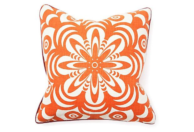 Flower Burst 22x22 Pillow, Orange