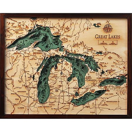 Great Lakes  Small in 2019  3D Nautical Wood Maps