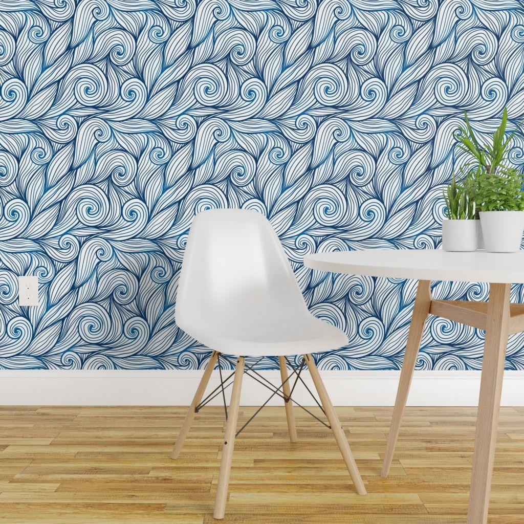Peel And Stick Removable Wallpaper Blue Swirls White Swirly Waves Nautical Ocean Walmart Com Removable Wallpaper Quick Decor Blue Wallpapers