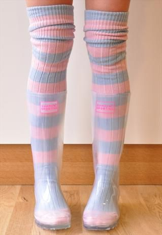 Transparent Festival Wellies With Sugarmouse Stripe Socks