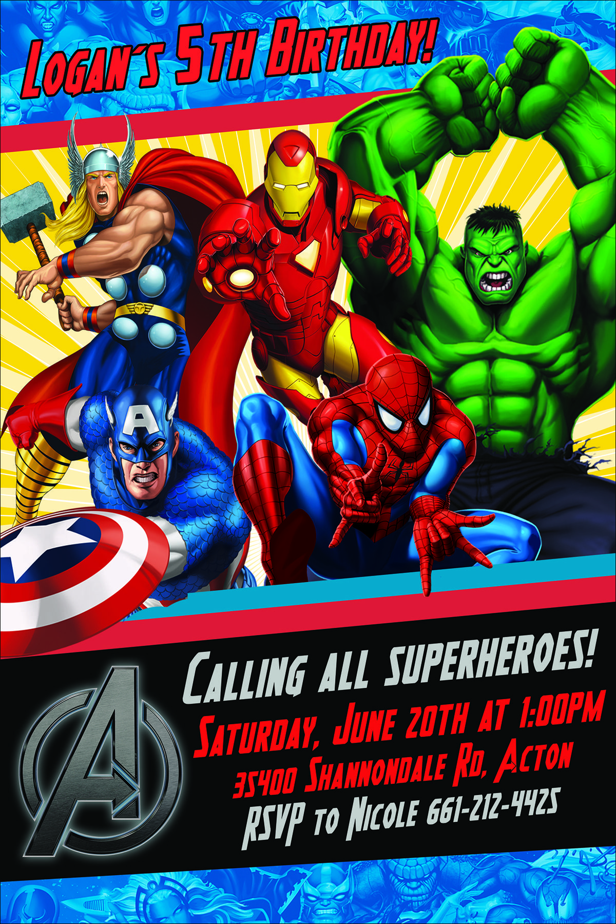 Avengers Birthday Invite Etsy