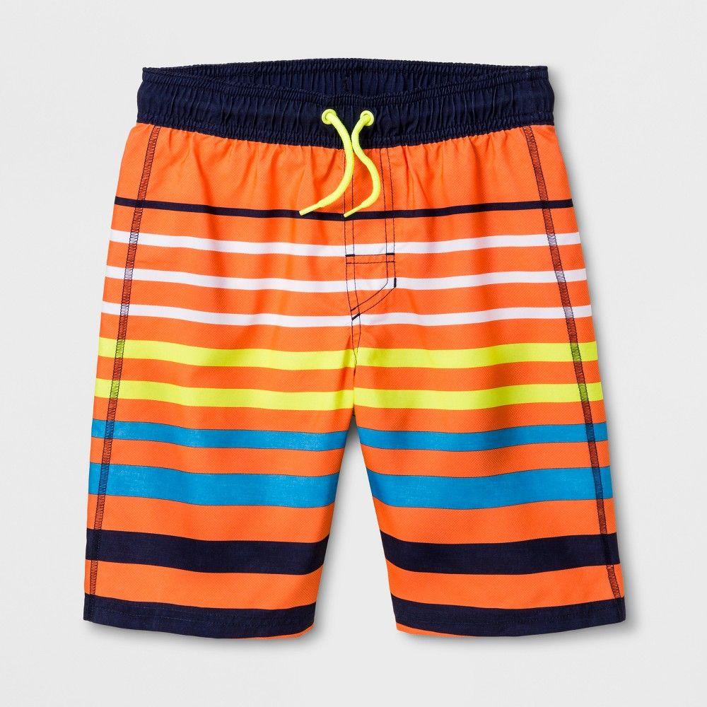 67b345d503441 Boys' Creamsicle Stripe Swim Trunks - Cat & Jack Orange XL ...