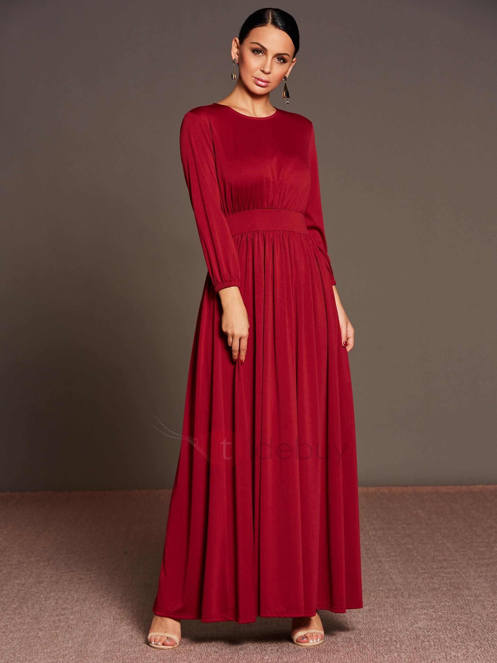 Tidebuy tidebuy solid color long sleeve pleated womens maxi dress
