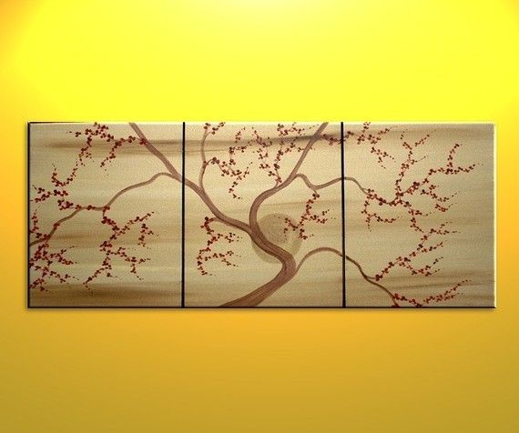 Gold Tree Art Cherry Blossom Painting Deep Red Flowers Asian Etsy Cherry Blossom Painting Tree Painting Canvas Tree Art