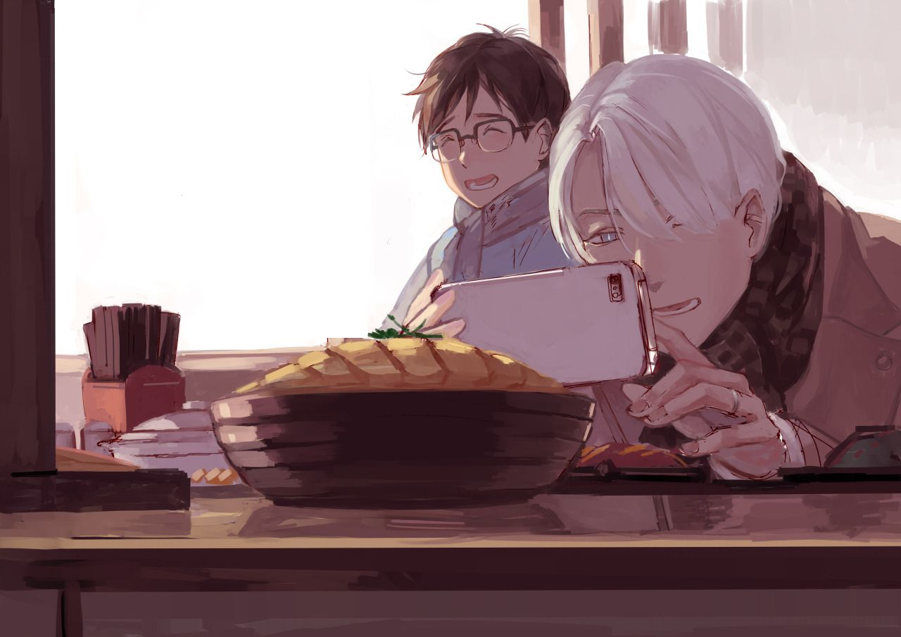 Viktor's probably the kind who take pictures of his food before letting others touch it (' 3′ ) Finished-and-less-sketchy pic will be included in our Yuri!!! on ICE artzine [Moments] the zine's details and preordering here... http://taro-k.tumblr.com/