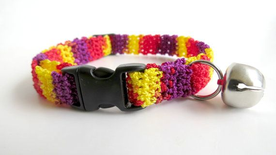 Adjustable Cat Collar with Bell Mixed Berries by BrumbysYarns, $10.00