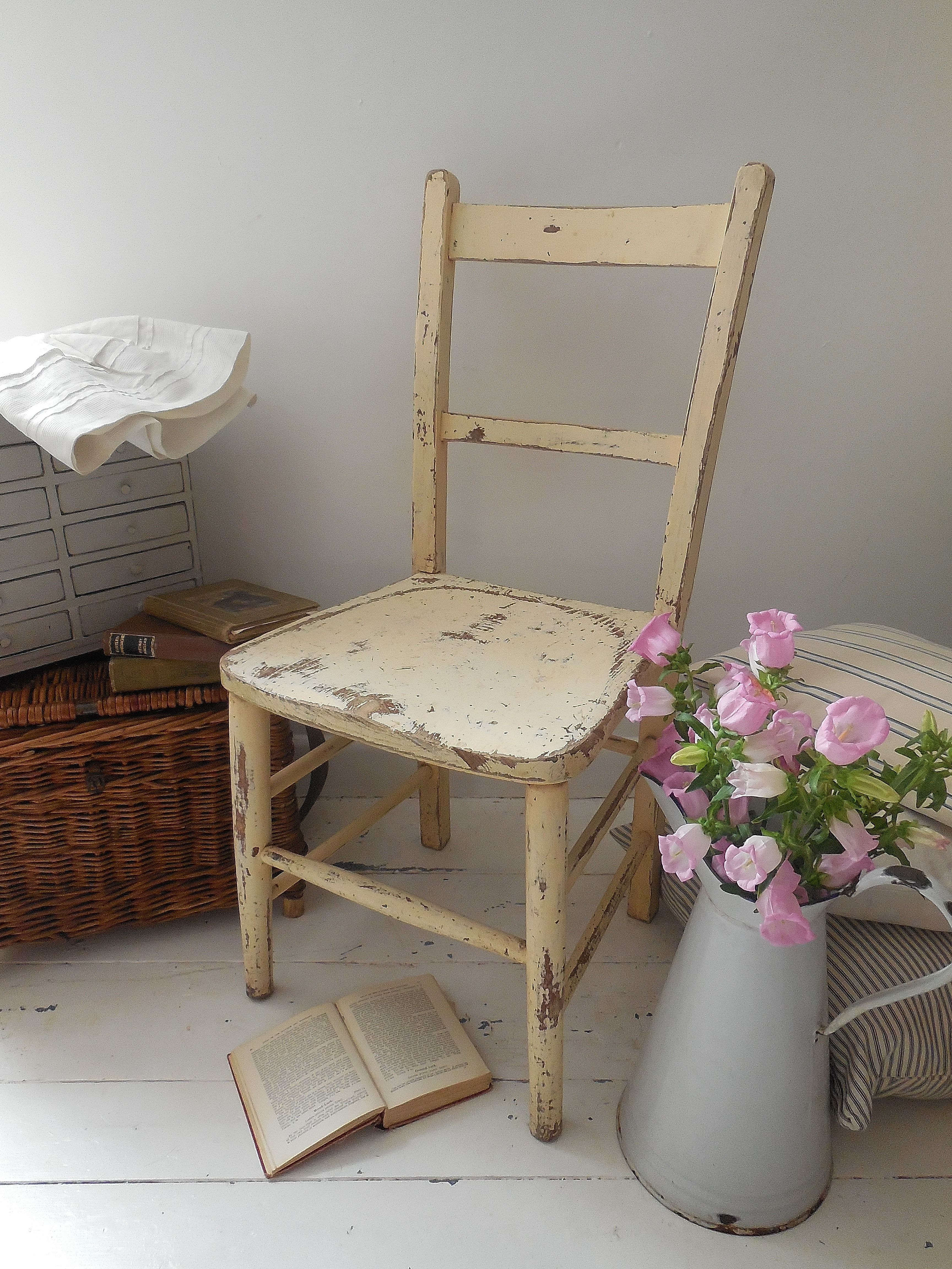 Vintage chair with authentic shabby paintwork new stock at lavender house decor home interiors also rh pinterest