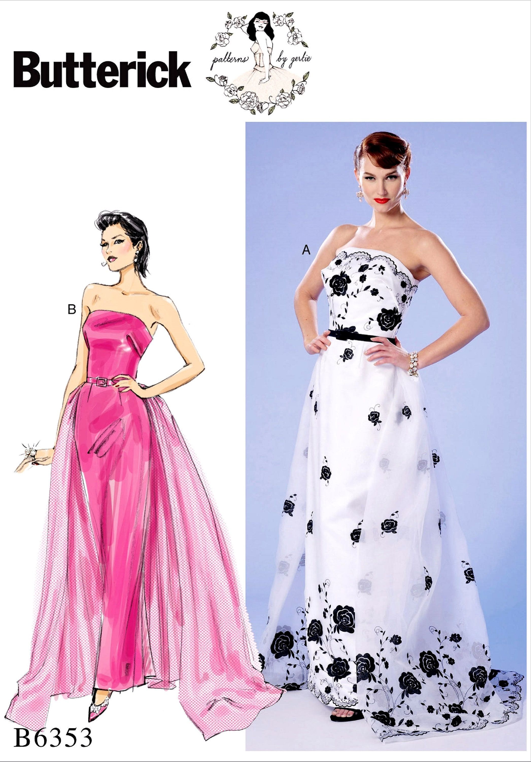 Sewing Pattern Misses' Strapless Gown Pattern, Women's