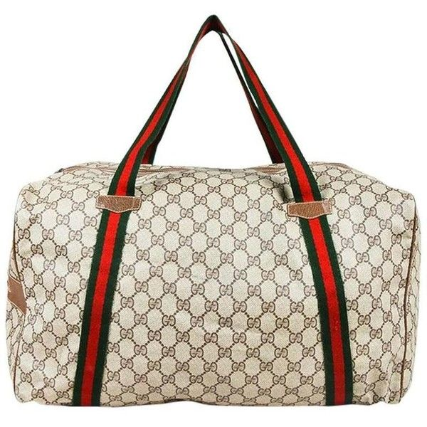 Preowned Vintage Gucci Beige & Brown Coated Canvas & Leather Web... ($915) ❤ liked on Polyvore featuring bags, luggage, brown and duffel bags