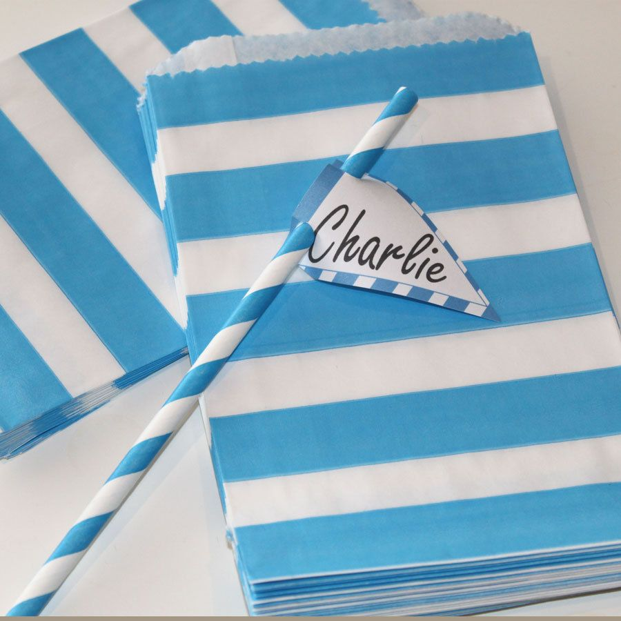 Party Favor Bags - 48 Blue Wide Striped Paper Bags, Party, Favors, Package, Baby Shower, Birthday Wedding. $12.00, via Etsy.