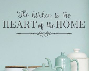 Kitchen  The Kitchen Is The Heart Of The Home Wall Decal  Kitchen Decor   Home Decor  Wall Decor  Kitchen Wall Art By Landbgraphics On Etsy