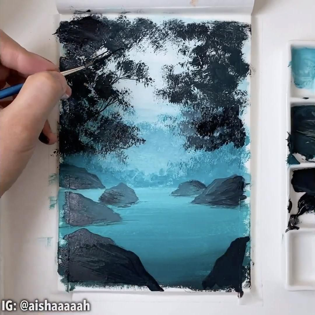 Photo of gouache painting tutorial step by step | how to paint gouache landscape