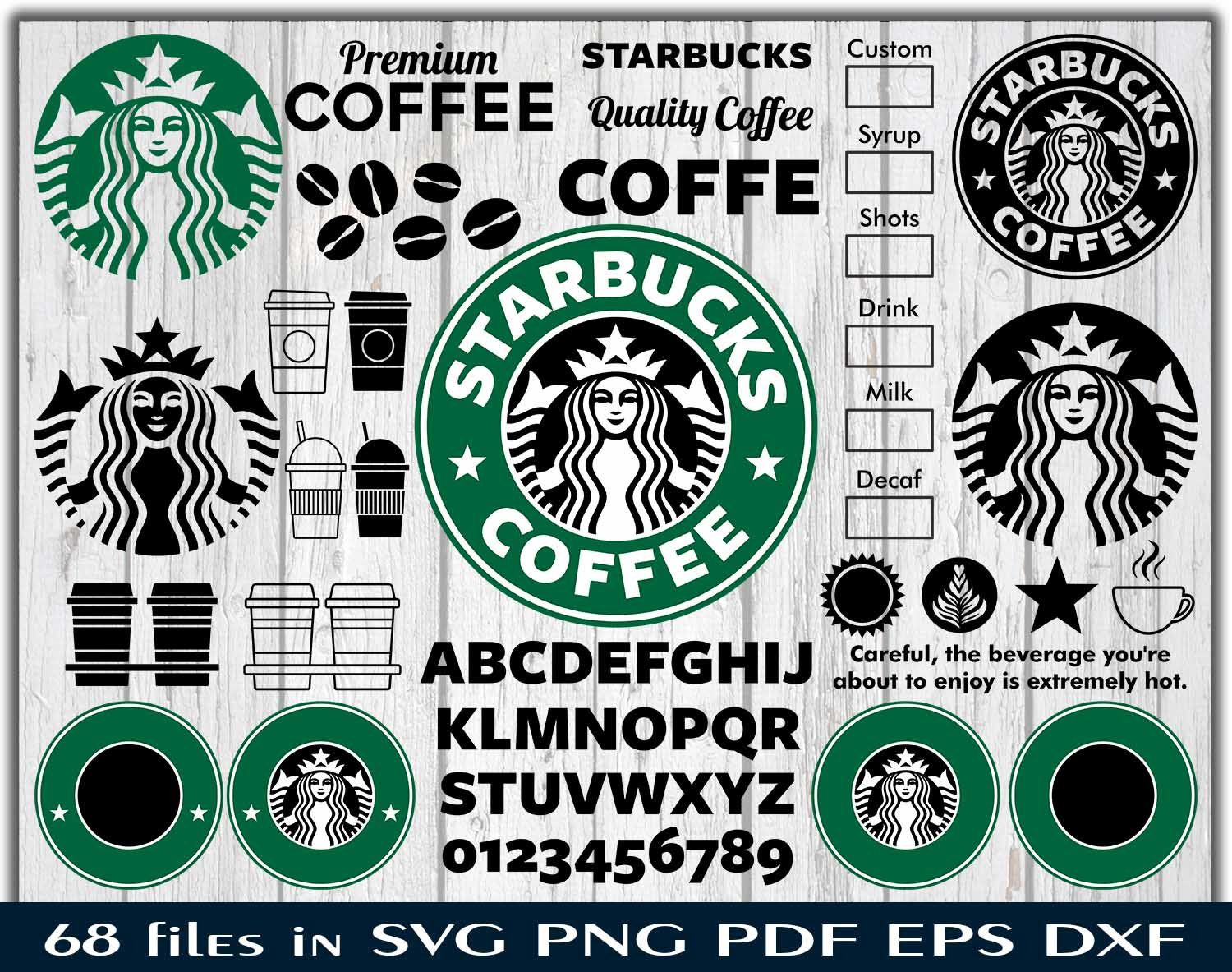 Starbucks Coffee Svg Option Coffee Vector Emblem Clipart Font Alphabet Bundle Silhouette Stencil File Cricut Vector C Coffee Svg Starbucks Coffee Coffee Vector