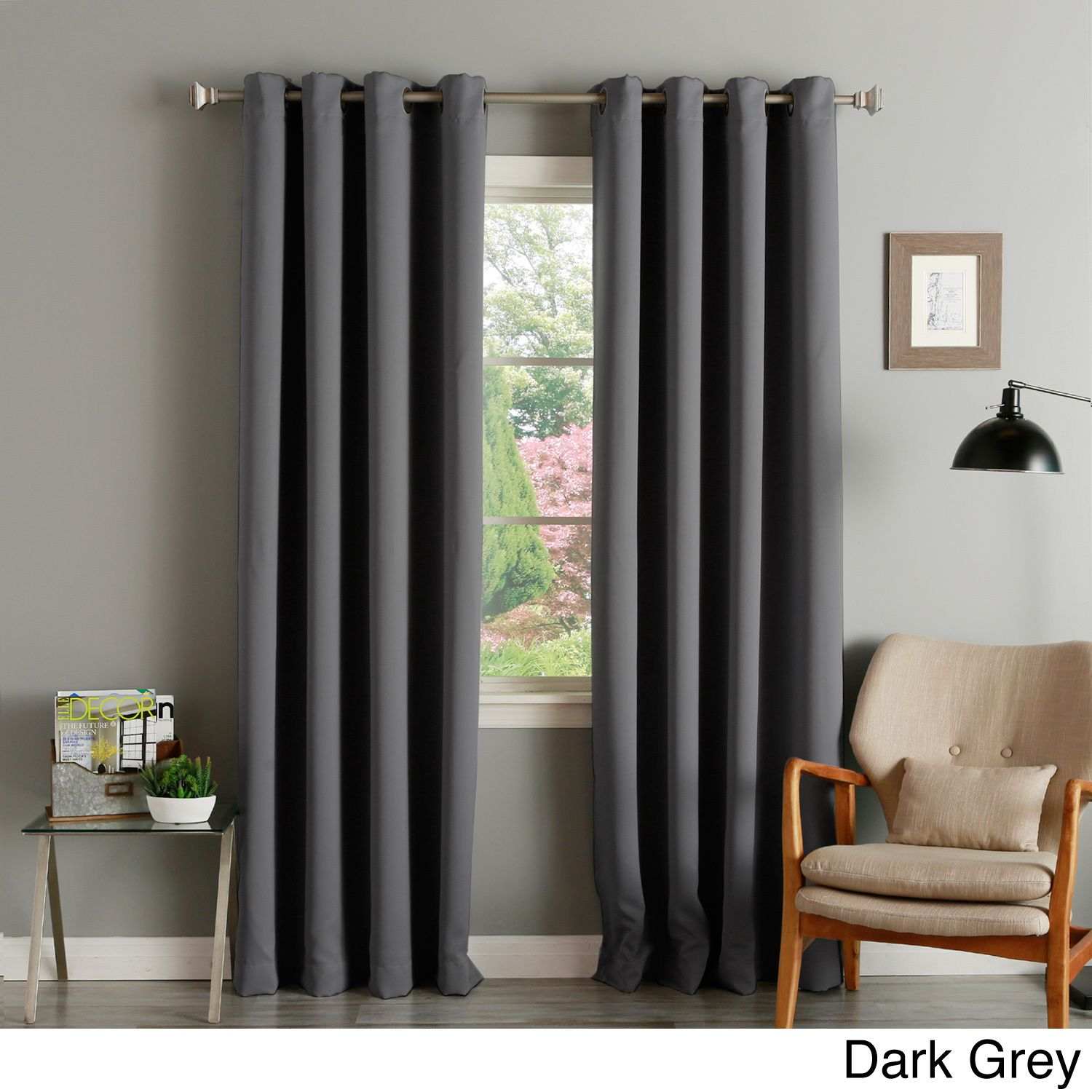 Aurora Home Thermal Insulated Blackout Grommet Top 84 Inch Curtain Panel Pair Dark Grey Size 52 X Polyester Solid