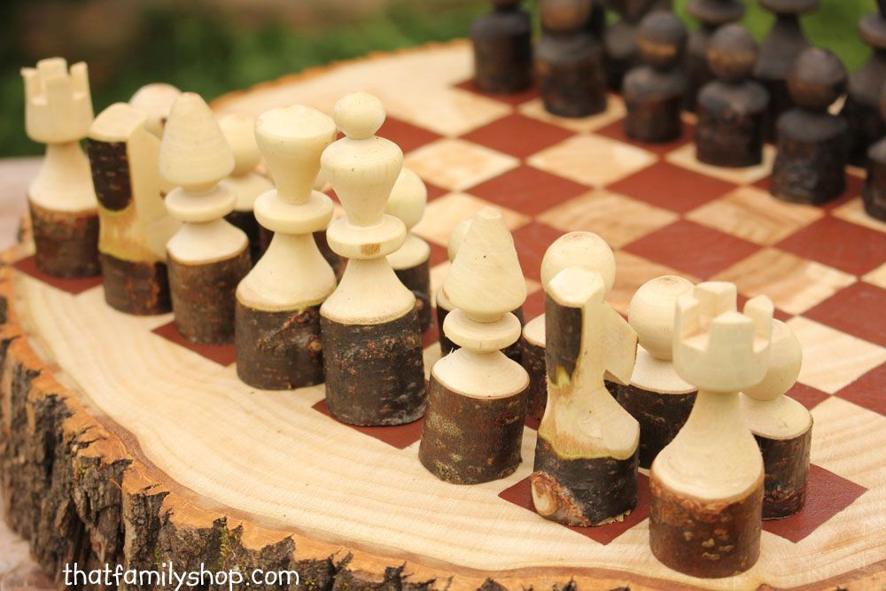 Custom Made Rustic Wood Log Chess Set Wooden Chess Pieces Chess Set Chess