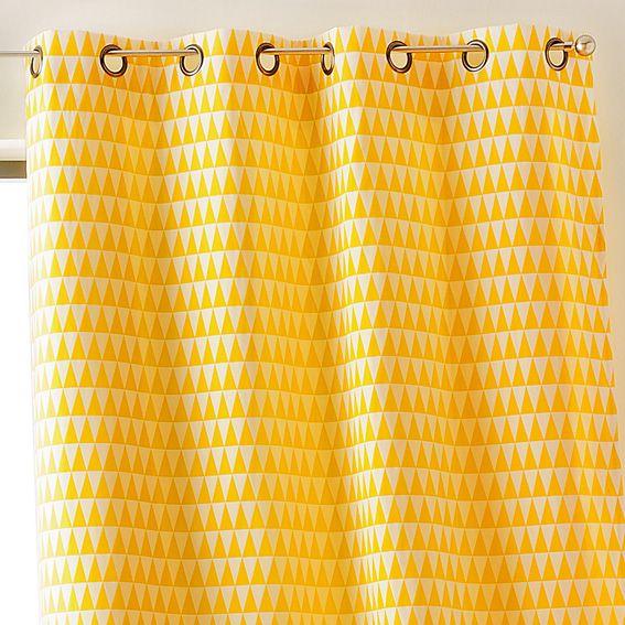 Rideau à oeillets Backgammon jaune | Eminza | Décoration intérieure ...