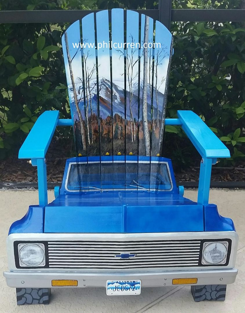 1972 Chevy Pick up Chair with custom Alaska background. Created by ...