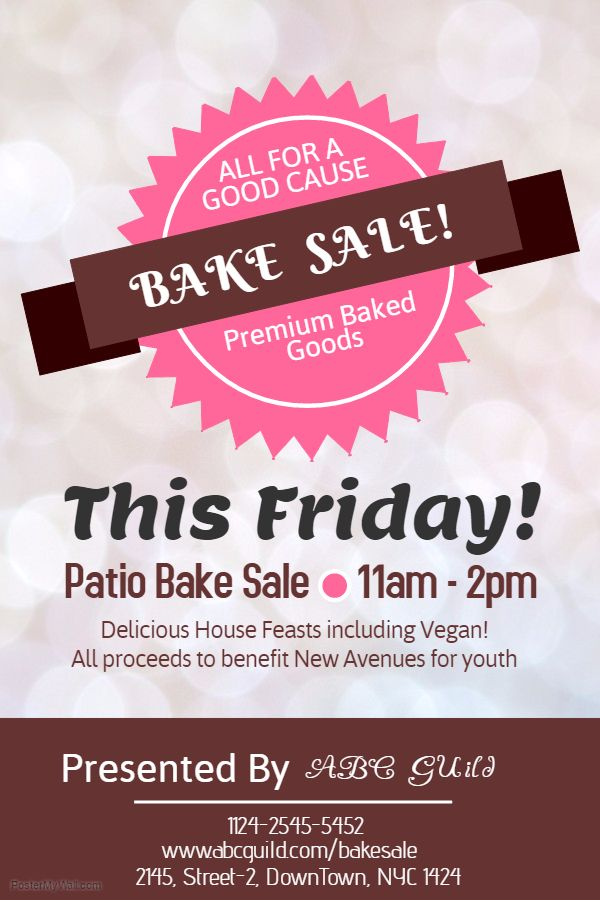 Bake sale poster flyer social media post template. | Campaigning and ...