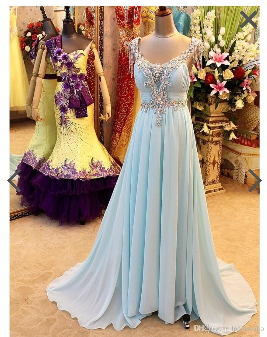Light sky blue prom dresses long evening dress pleats chiffon with