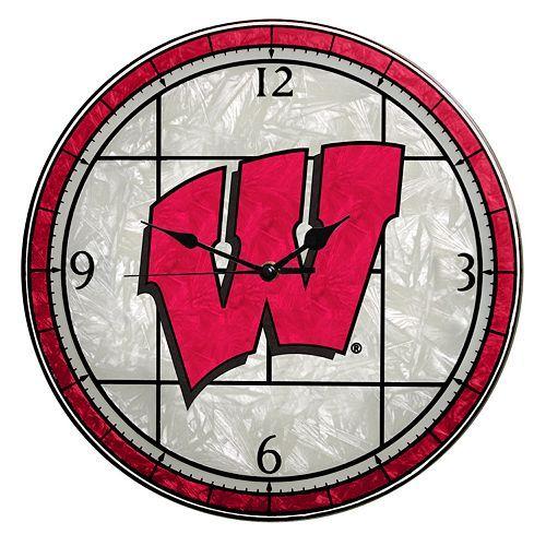 University Of Wisconsin Badgers Art Gl Clock 34 99