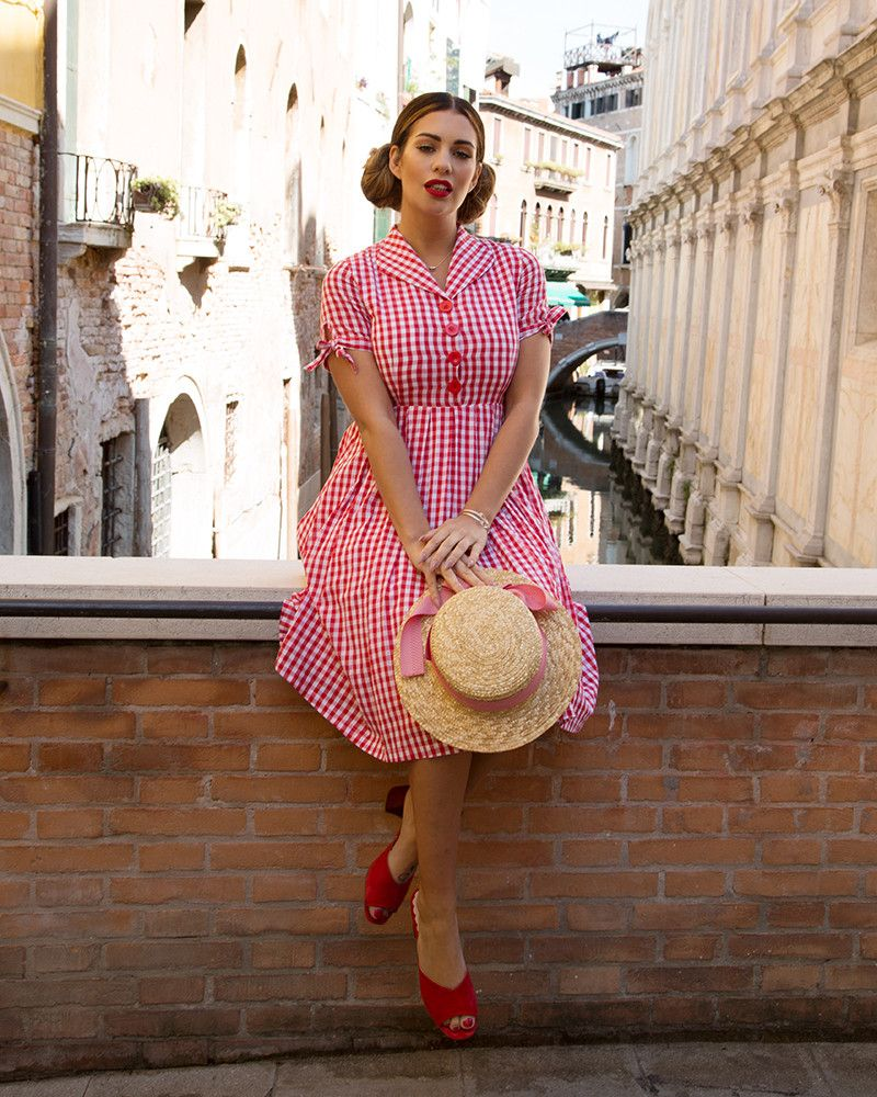 be3639e27eb8 Claudine Red Gingham Shirt Dress | Vintage Swing Dresses | Lindy Bop. '