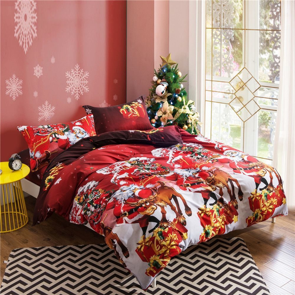 Red flannel sheets  Hot Christmas Bedding Set for Adultkids Gift pcs Bed Linen