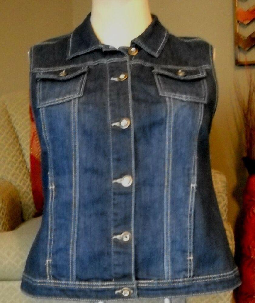 29aea6fbc22 Womens CHRISTOPHER   BANKS Button Front Blue Stretch Denim Vest-Size  Large--CUTE