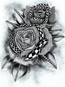 Zentangle Drawing - Tattoo Rose Greyscale by Becky Herrera