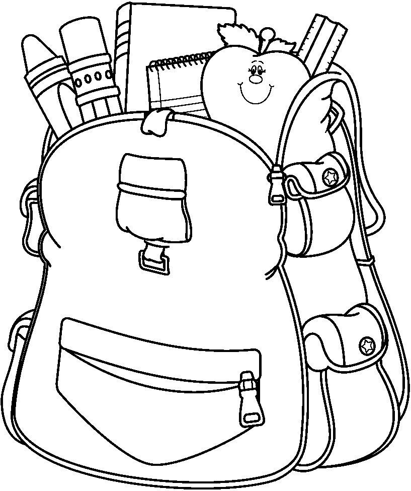 School Bag Coloring Page Crafts And Worksheets For Preschool Toddler And Kindergarten School Coloring Pages Coloring Pages School Supplies