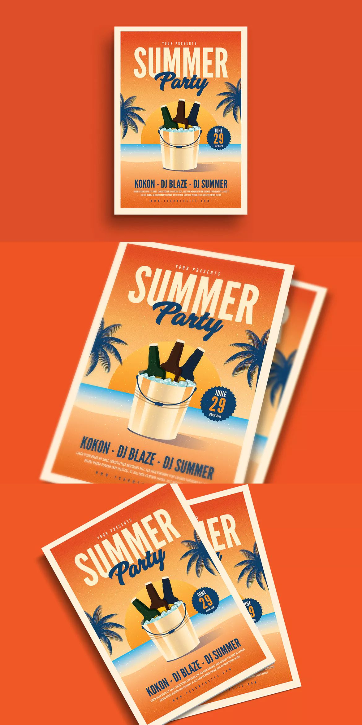 Summer Beer Event Flyer Template AI, PSD #unlimiteddownloads | flyer